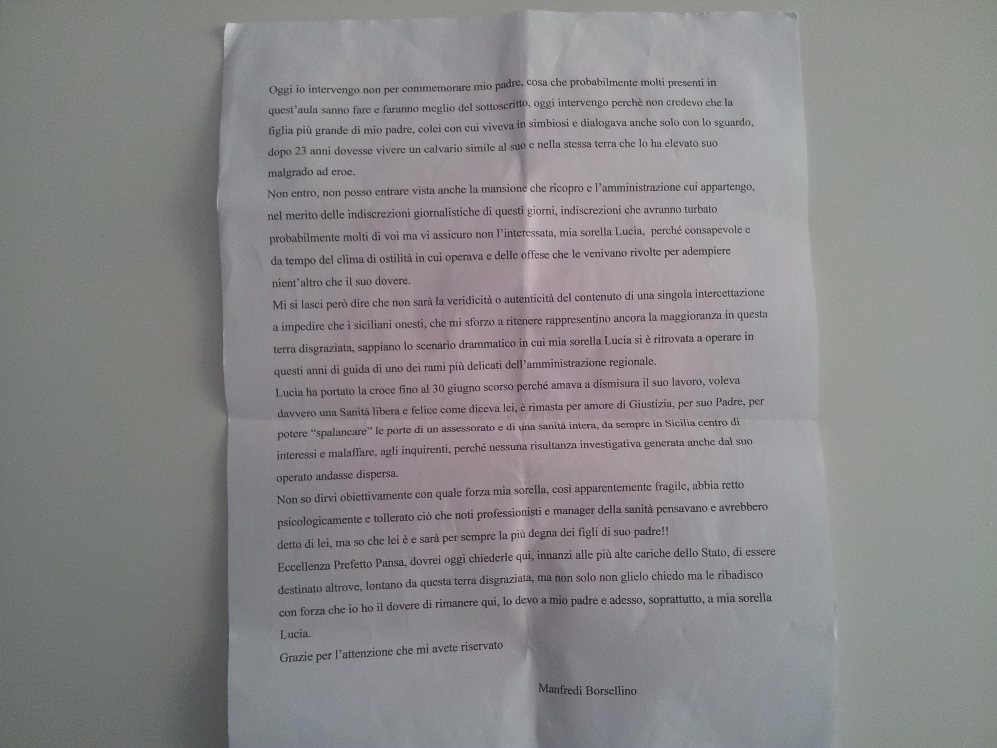 Il testo integrale dell 39 intervento di manfredi borsellino live sicilia - Gemelli diversi cosa vuoi testo ...