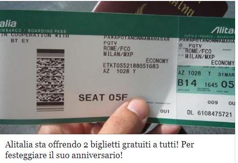 La bufala di Alitalia che regala biglietti aerei