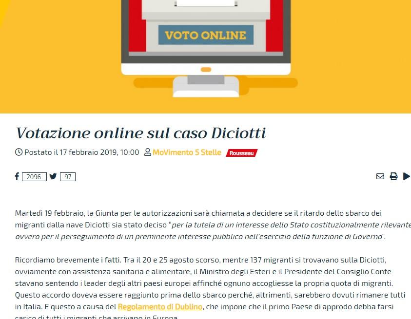 Finito il voto su Rousseau: il 60% decide di salvare Salvini