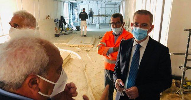 Marco Falcone nei cantieri della Stazione Aeroporto.